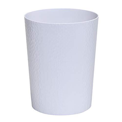 Bath Bliss - Cubo de Basura con Textura y Tapa Abierta Redonda de 10 litros, Color Blanco para baño, Dormitorio, Cocina