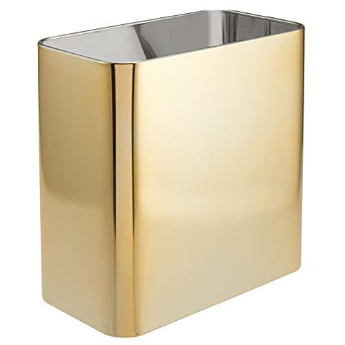 mDesign Papelera de Oficina Rectangular – Papelera metálica compacta y espaciosa para baño, Cocina u Oficina – Cubo de Basura de Metal – Dorado
