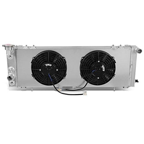 DNA Motoring RA+FS-CHEROKEE-91-3 - Radiador de 3 filas con cubierta de ventilador, metálico