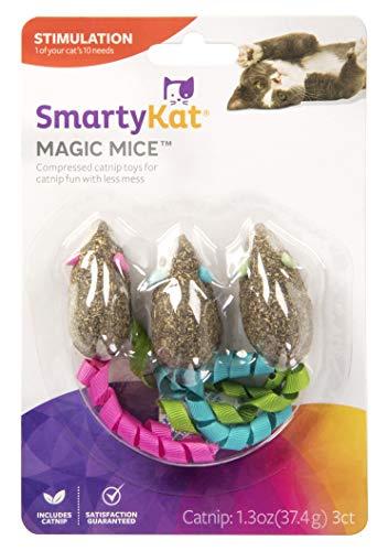 SmartyKat Magic Mice Juguetes para Gatos Comprimidos con Hierba gatera y Cinta, Juego de 3