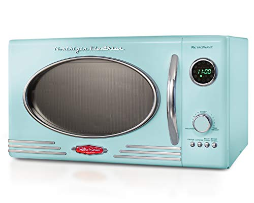 Nostalgia RMO4AQ Retro Series Microwave Oven, 0.9 cu. ft, Aqua