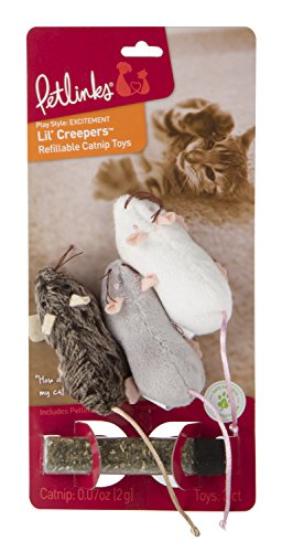 Petlinks Lil' Creepers Cat Toy Refillable Catnip Mice, 3 Pack