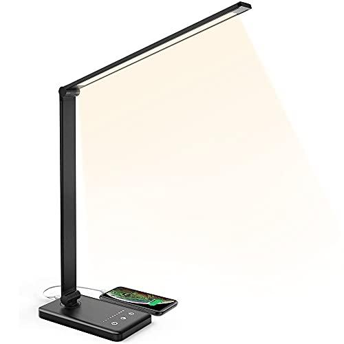 E T EASYTAO Lámpara de Escritorio USB recargable, Lámpara de mesa LED negra, control tácil y temporizador, 5 modos de luz y 5 niveles de brillo para sala de estar, estudio, oficina, recámara