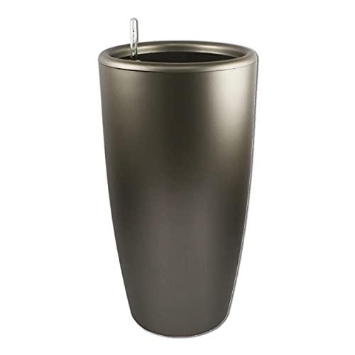 Maceta autorregable LQ4381 decorativa, redonda, alta - Grande, moderna - Interior y exterior- Autorriego inteligente - Gris metálico - Plástico ABS anti UV (43cm de diámetro x 81cm de alto)