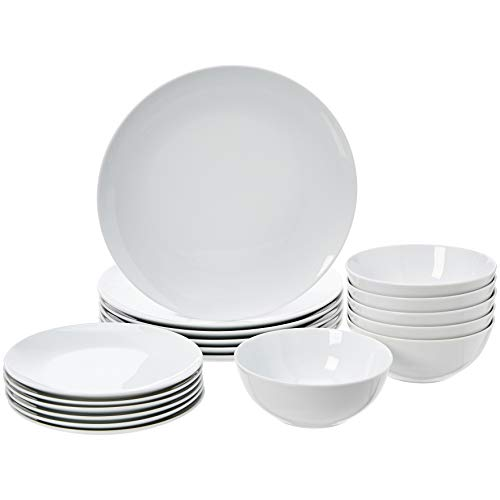 Amazon Basics - Vajilla de 18 piezas, servicio para 6, diseño de cupá de porcelana blanca