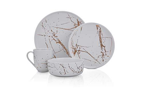 Stone Lain - Vajilla moderna de porcelana fina, 16 piezas, servicio para 4, blanco y dorado