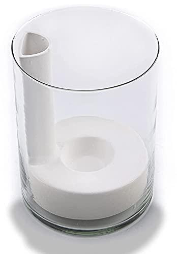 Maceta de autorriego. Vidrio transparente con cerámica. 16cm. Especial para orquídea y carnívoras. Marca Hidro+Z.