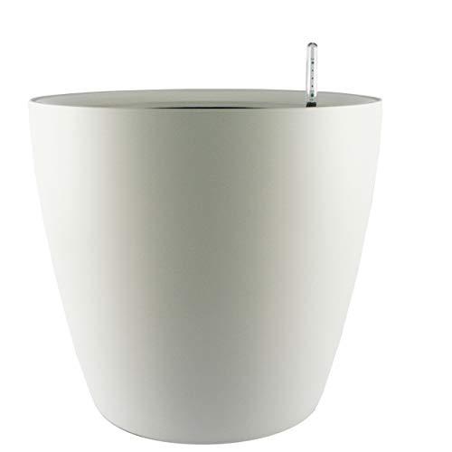 Maceta autorregable AQ2826 decorativa, redonda, bajita - Mediana, moderna - Interior y exterior - Autorriego inteligente - Blanco Mate - Plástico ABS anti UV (28cm de diámetro x 26cm de alto)