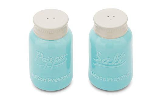 Fox Run Ceramic Mason Jar S&P Shakers, Salt and Pepper, Blue