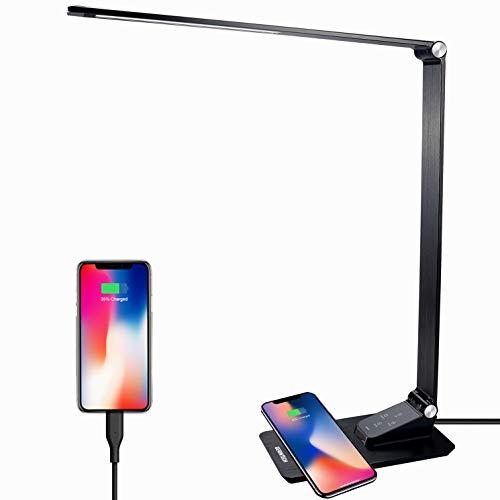 Gerintech Lámpara de escritorio con cargador inalámbrico rápido de 14 W, lámpara de mesa actualizada 2021 con puerto de carga USB de 2,1 A, 5 niveles de brillo, 5 modos de color (negro nuevo)