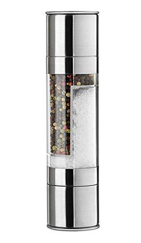 AXIDUN-Molinillo de Pimienta y Sal 2 en 1 Moledor de Acero Inoxidable Coctelera, con Núcleo de Molienda de Cerámica y Botella de Transparente con Compartimentos,para Moler Sal y Pimienta Simultáneamente