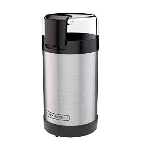 BLACK+DECKER Molinillo de café con control de botón pulsador, capacidad de 2/3 tazas, acero inoxidable