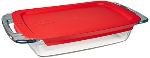 Pyrex 1090948 Refractario de Vidrio para Hornear Easy Grab con Tapa Roja 1.9 L, Multicolor
