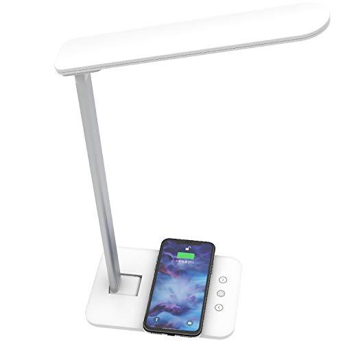 Lámpara LED de escritorio con cargador inteligente inalámbrico QI. Lámpara de noche para oficina en casa, mesita de noche, brillo regulable, 3 modos de iluminación que cambian de color y control táctil.