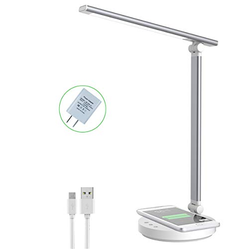 FMPCUON Lámpara LED de escritorio, lámparas de mesa para cuidado de los ojos, lámpara de oficina regulable con cargador rápido inalámbrico Qi, puerto de carga USB, 5 modos de color, brillo ajustable, control táctil, temporizador, luz nocturna