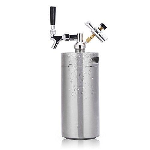 Lamtor G005-3.6L - llave de cerveza con sistema de dispensador de manualidades (3,6 L, apta para cortar CO2 ajustable), color plateado