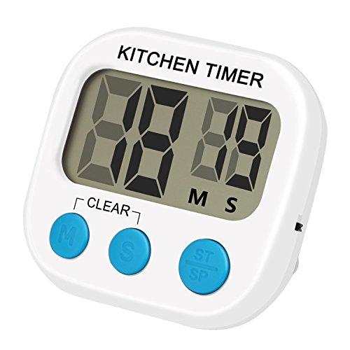 Temporizador Digital de Cocina,Grandes dígitos, para cocinar la hornada y juegos de deportes (blanco)
