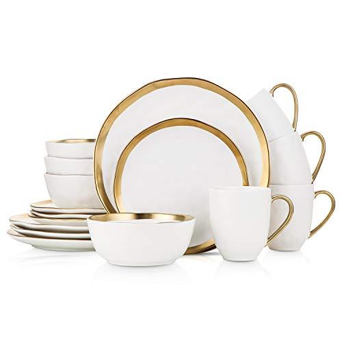 Stone Lain - Vajilla de porcelana de 16 piezas, servicio para 4, blanco con ribete dorado
