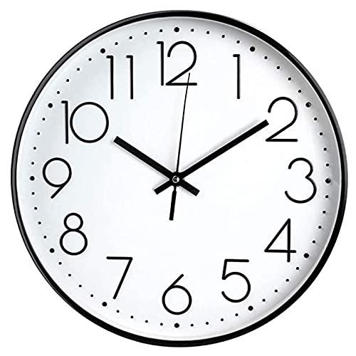 Reloj de pared de 20,32 cm, silencioso, funciona con pilas, con marco ABS y cubierta de vidrio HD para niños, sala de estar, dormitorio, cocina, escuela, oficina, decoración (8 pulgadas)