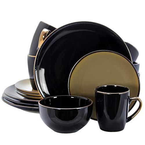 Elama Grand Collection - Vajilla redonda de cerámica, 16 piezas, color negro y gris pardo cálido