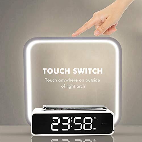 Amouhom Lámpara de noche, lámpara de control táctil, reloj despertador, carga inalámbrica, luz nocturna LED, lámpara de escritorio para oficina en casa