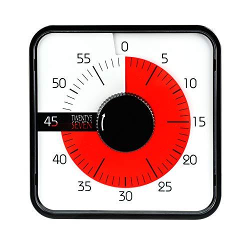 TWENTY5 SEVEN Temporizador de cuenta regresiva de 7.5 pulgadas; 60 minutos 1 hora temporizador visual – herramienta de enseñanza en el aula, oficina, reunión, reloj mecánico de cuenta regresiva para niños, control del tiempo, magnético, color negro