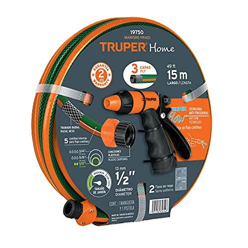 Truper MAN15RE-PR401, Combo de manguera MAN-15X1/RE y pistola PR-401, 15 m