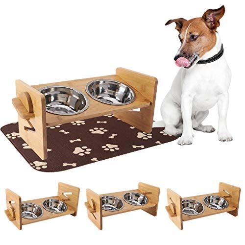 EXPAWLORER Cuencos elevados para perros y gatos – con alfombrilla de comida para perro altamente absorbente impermeable – Alimentador de bambú ajustable con 2 cuencos de acero inoxidable