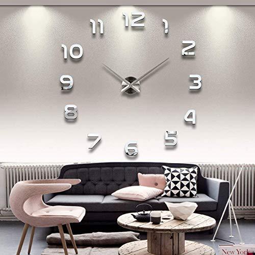 UPA Reloj de Pared 3D, DIY Moderno Los Grandes números arábigos Reloj de Pared para Home/Office/Hotel Decoración - Plata