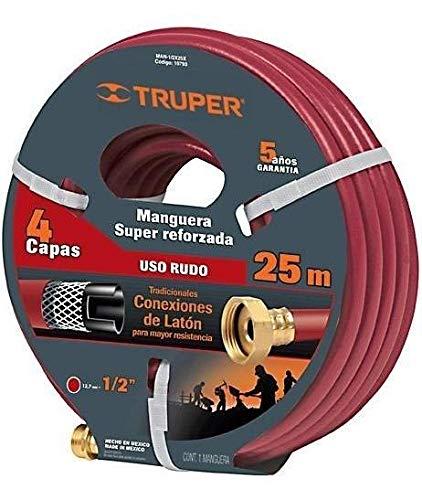 Truper MAN-25X1/2X, Manguera armada super reforzadas 4 capas, conexiones metálicas, 1/2