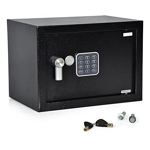 SereneLife SLSFE15 - Caja fuerte con anulación mecánica, cerradura de combinación digital, indicador LED de batería baja, incluye tornillos de montaje, llaves y (4) pilas AA