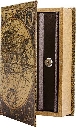 Barska - Caja de seguridad para libros, diseño de mapa antiguo, multicolor