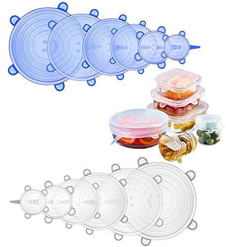 Suppeak Tapas de Silicona, Cubierta de Alimentos Reutilizable para tazones de Frutas líquidas latas tazón, sin BPA, Paquete de 12 (Blanco + Azul)
