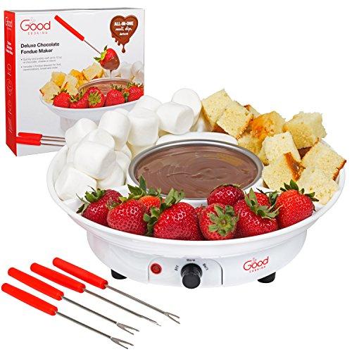 Fuente de postre eléctrico de lujo para fondue con 4 tenedores y bandeja para servir fiestas