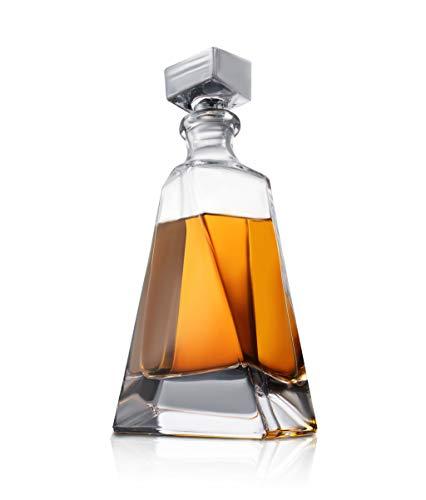 Decantador de whisky Atlas – Decantador de cristal moderno de 22 onzas – Decantador pequeño de licor con tapón – Decantador de alcohol para whisky, bourbon, brandy, licor y ron – Contenedor de barra escocés