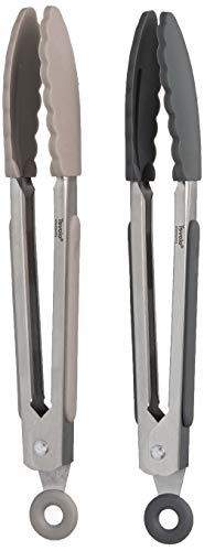 Tovolo Pinzas de cocina de acero inoxidable de 7 pulgadas con agarre de silicona y mecanismo de bloqueo fácil para servir, ensalada e hielo, juego de 2, carbón y gris cálido