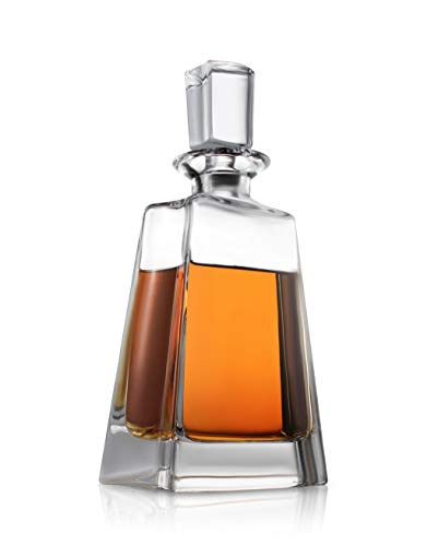 Decantador de whisky Luna – Decantador de cristal moderno de 24 onzas – Decantador pequeño de licor con tapón – Decantador de alcohol para whisky, bourbon, brandy, licor y ron – Contenedor de barra escocés