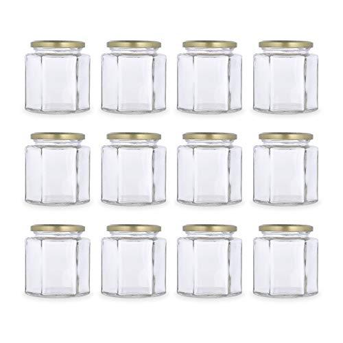 Global Fuentes HEX245-CT63RTS/D Paquete de 12 envases de vidrio hexagonal transparente con tapa dorada de 245 ml cada uno, Mediano, Transparente/Tapa Dorada