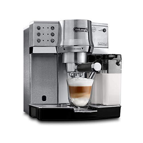 De'Longhi Dedica Cappuccino EC860 - Cafetera Tipo Barista de Acero Inoxidable con Control Semi-Automático y Botones Intuitivos para Espresso, Cappuccino y Otras Recetas, Espumador de Leche Automático