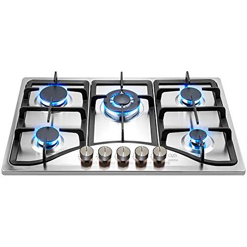 AVERA AI5 Parrilla a gas de Empotrar con 5 Quemadores en Acero Inoxidable, Estufas de Gas para Cocina.