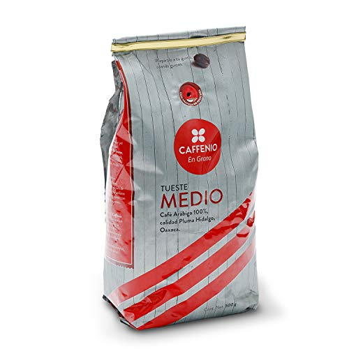 CAFFENIO - Café en Grano - Calidad Pluma Hidalgo, Oaxaca - Tueste Medio - Bolsa de 500g - 100% Mexicano