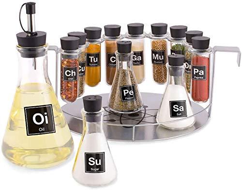 Químico's especiero, 14 piezas Química del conjunto estante para especias