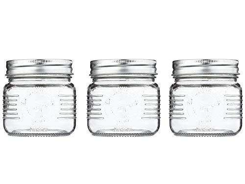 Set de 3 Frascos de vidrio con tapa hermética de rosca, estilo Mason Jar, 250 ml, Set de 3 FRASCOS   NV-1006 - REIMART