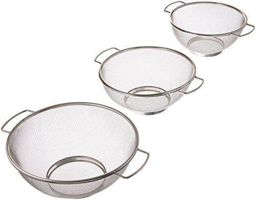ExcelSteel - Colador de malla fina con base de reposo, apto para lavavajillas, verduras de 3 piezas, 20,3 cm, 22,8 cm, 25,4 cm, acero inoxidable