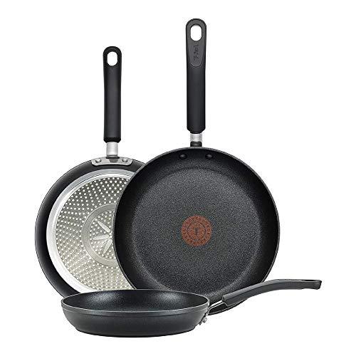 T-fal E938S3 - Juego de utensilios de cocina con indicador de calor, antiadherentes, 3 piezas, 8 pulgadas, 10.5 pulgadas y 12.5 pulgadas, color negro
