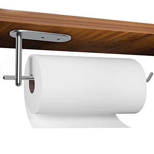 Soporte para toallas de papel debajo del gabinete, de acero inoxidable para toallas de papel, montado en la pared para cocina y baño, disponible en adhesivo y tornillo