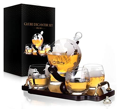 Whiskey Decanter Set World Etched Globe Decanter Antique Ship Glasses Bar Pour Funnel Stopper Liquor Dispenser Spirits Scotch Bourbon Vodka Rum Wine Tequila Brandy 850 ml