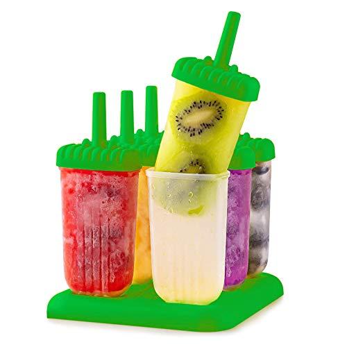 Molde Para Paletas Heladas Scabia, 6 Cavidades Para Hacer Paletas De Hielo. Reutilizables y Libres de BPA. Color Verde
