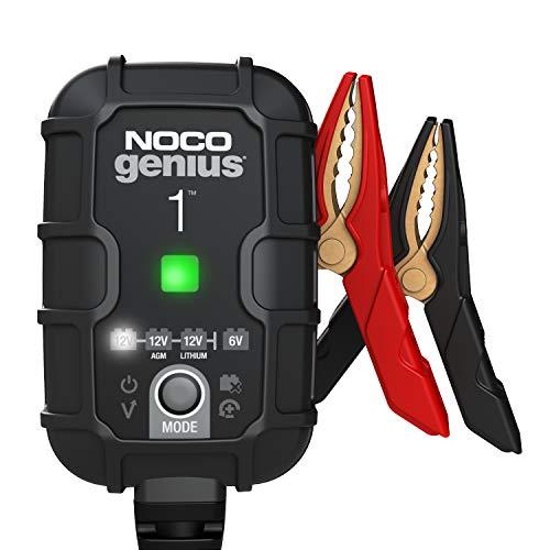 NOCO GENIUS1, Cargador Inteligente Totalmente automático de 1 amperio, Cargador de batería de 6 V y 12 V, mantenedor de Carga de la batería y desulfatador de batería con compensación de Temperatura
