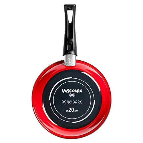 Sartén de 20 cm Vasconia Color Rojo, Hecho de Acero Vitrificado con Antiadherente Duraflon